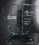 Emerald Ball Etched Crystal Award